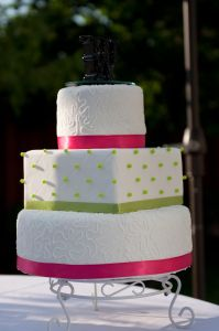 Pink and green round and square wedding cake