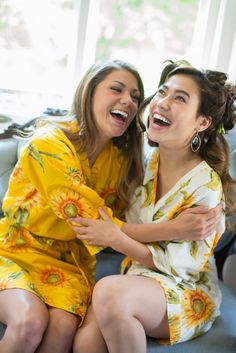 dd704583ed Robes by silkandmore - Yellow Sunflower Robes for bridesmaids