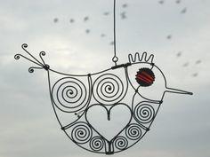 Love Bird In Red / Wire Art Sculpture