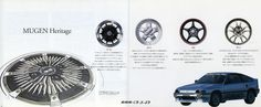 Successive mugen wheel catalogues  (It is attached to my CR-X)  無限 CF-48 , 無限 MR-5 , 無限 RNR , 無限 MF-10
