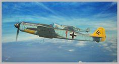 YELLOW TAILED FW-190 D, 12./JG54, pilot Hans Dortenmann, Autumn 1944 original painting, oil on canvas, 70x35 cm