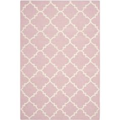 Safavieh Hand-woven Moroccan Dhurrie Pink/ Ivory Wool Rug (5' x 8') | Overstock™ Shopping - Great Deals on Safavieh 5x8 - 6x9 Rugs