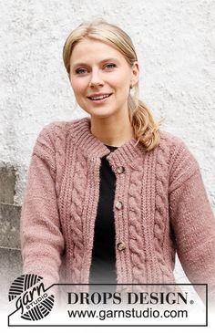 Baby Knitting Patterns, Free Knitting, Mens Knitted Cardigan, Knit Jacket, Drops Design, Rose Jacket, Crochet Diagram, Work Tops, Jacket Pattern