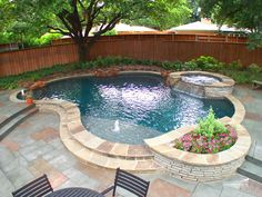 Our Pools: Natural / Free Form Pools Gallery Hot Tub Backyard, Small Backyard Patio, Backyard Pool Landscaping, Backyard Patio Designs, Backyard Retreat, Swimming Pools Backyard, Swimming Pool Designs, Small Swimming Pools, Lap Pools
