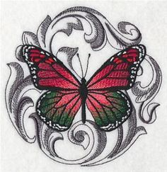 """This free embroidery design from Embroidery Library is the """"Baroque Christmas Butterfly""""."""