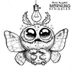 cute art by Chris Ryniak Cute Monsters Drawings, Cartoon Drawings, Cartoon Art, Cute Drawings, Cute Cartoon, Animal Drawings, Monster Sketch, Doodle Monster, Monster Drawing