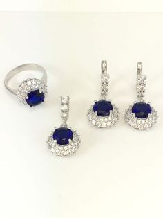 TURKISH HANDMADE STERLING SILVER SAPPHIRE & TOPAZ WOMAN SET RingSize 6  | eBay