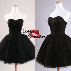 2014 New Arrival Black Short prom dresses, Discount Mini Tulle black prom dress, Black Cocktail dress, Homecoming dresses, Corset back 9077