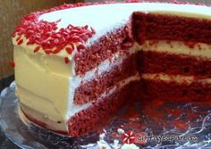 Red Velvet Κέικ (Κέικ Κόκκινο Βελούδο) recipe main photo Greek Sweets, Greek Desserts, Greek Recipes, Red Velvet Recipes, Cake Recipes, Dessert Recipes, Red Velvet Brownies, Red Cake, Oreo Pops