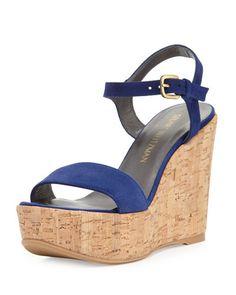 X3MYE Stuart Weitzman Single Suede Wedge Sandal