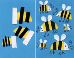 I tried this little formula for a bumblebee collage with my kinders last year, and they did a great job. It's also fun to replicate in many sizes for a little perspective fun. #artprojectsforkids