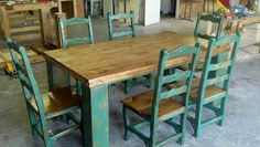 Rustic table - I love the turquoise too! Turquoise Table, Rustic Table, Dining Table, Sisters, Tables, House, Furniture, Home Decor, Rustic Desk