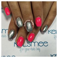 Neon pink nails with silver And glitter