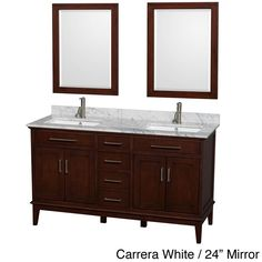 Any bathroom will benefit from the elegant look offered by the Hatton 60-inch dark chestnut double vanity. It is available with countertop in carrera white, square white porcelain sink with 1-hole faucet mount, and your choice of mirrors.