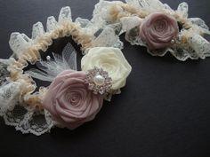 Cherry Blossom Ivory Rose Lace Garter SET Something by lionusagi, $68.00