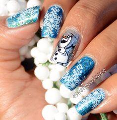 Olaf and nail stamping. Winter nails