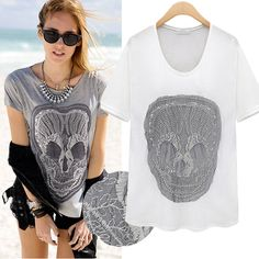 2014 New Arrival Hot Selling for Women's Fashion Sexy Lace Skulls T-shirt Shirts Tees Summer Tops for Woman Free Shipping S-XL