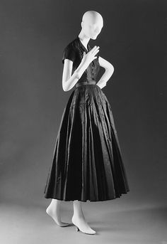 """""""Chérie"""" Design House: House of Dior (French, founded 1947) Designer: Christian Dior (French, Granville 1905–1957 Montecatini) Date: spring/summer 1947 Culture: French Medium: silk Dimensions: Length at CB (of bodice): 23 1/2 in. (59.7 cm) Length (at CB and CF of skirt): 35 1/2 in. (90.2 cm)"""