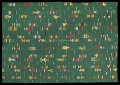 E788 - Higly unusual plain cotton ground Ewe chief's cloth with an extensive array of figurative supplementery weft float motifs. Plain grou...