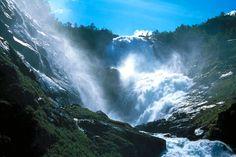 Photo: R. M. Sørensen, Norwegian fjords -Flam Railway, Kjosfossen waterfall