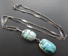 vintage art deco SILVER & turquoise ceramic scarab beetle pendant necklace -D426