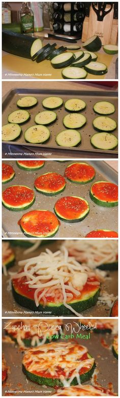 "Zucchini mini pizzas Large Zucchini, sliced into ¼"" slices Olive Oil for brushing on Tomato sauce (8 oz or less) Italian seasoning or your favorite herbs ¼ Cup mozzarella cheese salt cracked pepper Bake @ 375 30-40 mins"