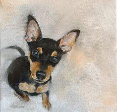 Miniature pinscher oil on canvas by Julie Brunn