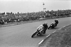 Assen Grand Prix TT, 1967. Phil Read (Yamaha) and Mike Hailwood (Honda) during the 250cc race, won by Hailwood.