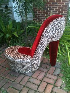Leopard And Black High Heel Shoe Chair, Stiletto Chair