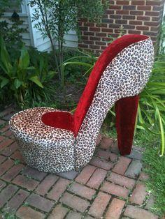 Gentil Leopard And Black High Heel Shoe Chair, Stiletto Chair