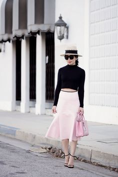 In Pink: Peplum Skirt and Fendi 2 Jours Bag