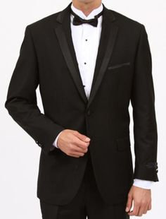 Black Slim Fit 1 Button Tuxedo with Side Vents  Price: US $199