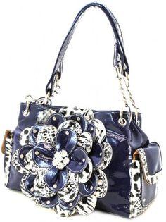 blue purses | Cheetah Print Flower Satchel Purse Handbag Blue