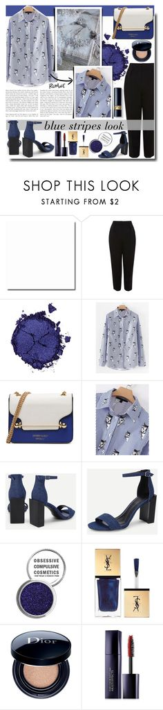 """""""Blue Stripes Look / ROMWE"""" by fashiondiary5 ❤ liked on Polyvore featuring Topshop, Pat McGrath, Obsessive Compulsive Cosmetics, Christian Dior, Estée Lauder and romwe"""