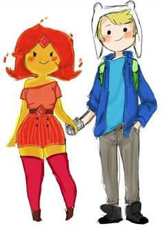 Finn and Flame Princess from Adventure Time