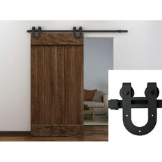 6FT Black European Antique Horseshoe Barn Wood Sliding Door Hardware Track  Set   Walmart.com