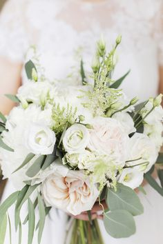 Pastel Bridal Bouquet - Rachel Rose Photography | Classic Pastel At Home Marquee Wedding