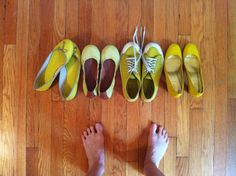 My collection of yellow shoes.