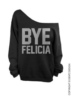 Bye Felicia - Black with Silver Slouchy Oversized Sweatshirt