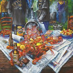 The Crawfish Boil Painting by Dianne Parks - The Crawfish Boil Fine Art Prints and Posters for Sale