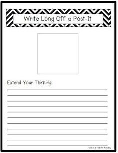 Head Over Heels For Teaching: Get students to extend their thinking with this Write Long Off a Post-It {Freebie}