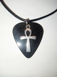 """Black guitar pick necklace silver tone ankh cross charm and size 17"""" to 19"""" inch #12345market #Pendant Guitar Pick Necklace, Chakra Stones, Silver Necklaces, Pendants, Pendant Necklace, Jewels, Ebay, Black, Black People"""
