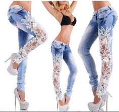Women Jeans Patchwork Lace Floral Skinny Jeans Hollow out Casual trousers women Denim Pencil Pant Low Waist sexy Pants Lace Jeans, Sexy Jeans, Embellished Jeans, Embroidered Jeans, Sexy Outfits, Cool Outfits, Fashion Outfits, Diy Clothes, Clothes For Women