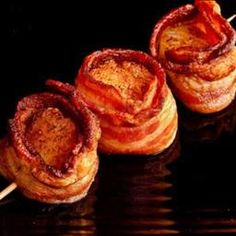 bacon wrapped scallops...could add some maple syrup for extra sweetness. yum. :)