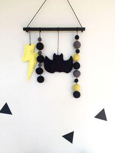 Wool Felt Ball Garland Wall Hanging Batman Lightning Bolts Boys Room Decor