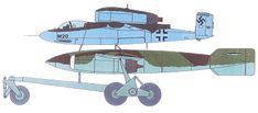 He 162/Ar E.377a Mistel combination. Color art from Reichdreams Dossier #3