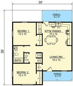 This cottage design floor plan is 856 sq ft and has 2 bedrooms and has 1 bathrooms. Little House Plans, Small House Floor Plans, Dream House Plans, Little Houses, 2 Bedroom House Plans, Cottage Style House Plans, Cottage House Plans, The Plan, How To Plan