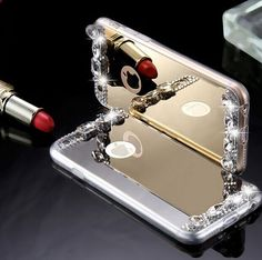 Gold Diamond Bling TPU Woman Mirror Phone Case For iPhone 5 5S 6 6S plus iphone SE Back Cover IPhone 7 Case