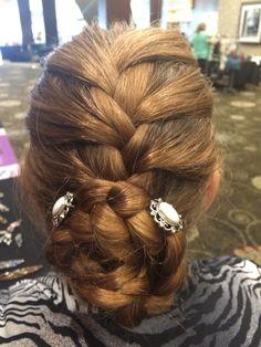 "French braid with a braided bun secured with Lilla Rose May 2015 FOTM ""Grace"" You Pins. www.lillarose.biz/funflexis"