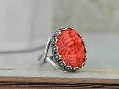 RED CORAL RING vintage red coral color glass cab by plasticouture, $26.50